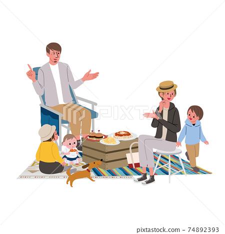 野營露營家庭插畫野餐 74892393