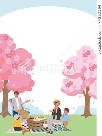 꽃놀이를하는 가족의 일러스트 피크닉 74892394