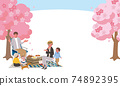 Illustration of a family watching cherry blossoms Picnic 74892395