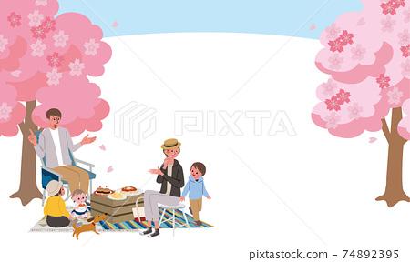 꽃놀이를하는 가족의 일러스트 피크닉 74892395