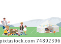 Illustration of a family camping picnic 74892396