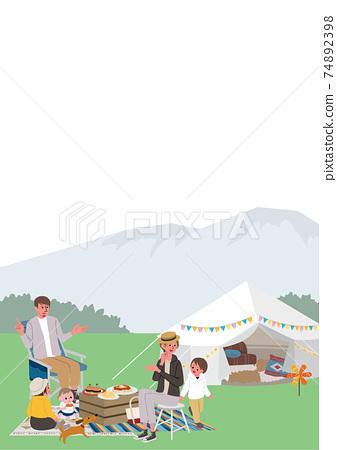 家庭露營野餐的插圖 74892398