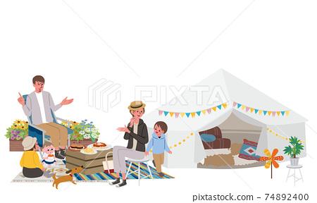 野營露營家庭插畫野餐 74892400