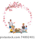 Family frame picnic illustration with cherry blossoms and cherry blossom viewing 74892401