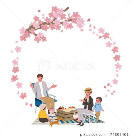 벚꽃과 벚꽃 놀이를 가족의 프레임 피크닉 일러스트 74892401