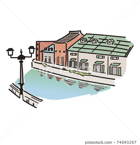 小樽運河的手繪風格插圖(彩色) 74893267