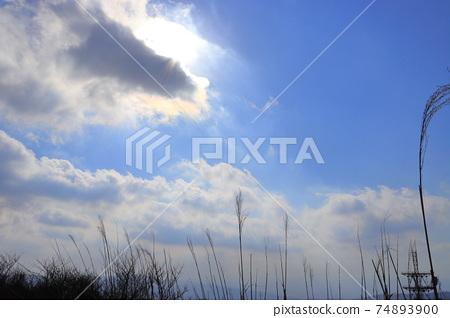 從宮崎縣灣塚的山頂看到的藍天,白雲和陽光 74893900