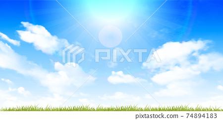 新鮮的綠色草地春天背景 74894183