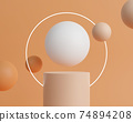 3d rendering empty cylinder podium on orange background. Abstract scene for product mock up template. 74894208