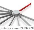 Concentration and selection. A base where many arrows are concentrated. White background. 3D rendering. 74897770