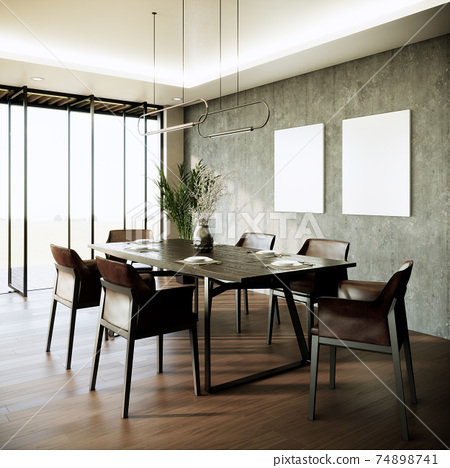 modern loft dining room interior design, blank picture frame on gray wall, looking out to see the view, 3d render background 74898741