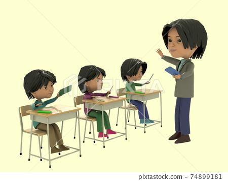 學生與老師在學校使用平板電腦教學 74899181