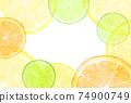 水彩風格切柑橘框架明信片 74900749