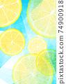 水彩風格檸檬切明信片 74900918