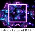 3d rendering pink neon frame on metal spheres background. 74901111