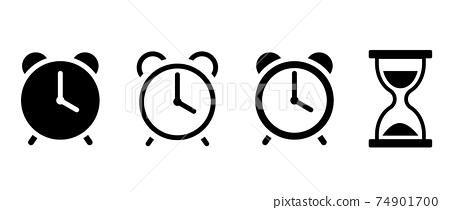 알람 시계와 모래 시계 아이콘 세트 74901700
