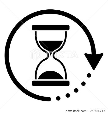 모래 시계 회전하는 화살표 아이콘 74901713