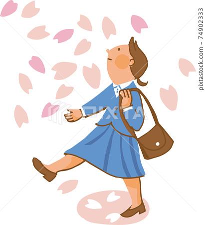 벚꽃 눈보라 아래 여성 74902333