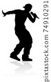 Singer Pop Country or Rock Star Silhouette 74910291