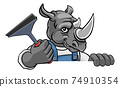 Rhino Car Or Window Cleaner Holding Squeegee 74910354