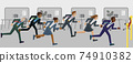 Business People Running Race Finish Line Concept 74910382