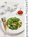 Salad of microgreen with avocado, shrimps, spinach 74910447