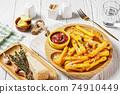 garlic parmesan crispy polenta fries, top view 74910449