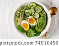 bowl with quinoa, greens, avocado and boiled egg 74910450