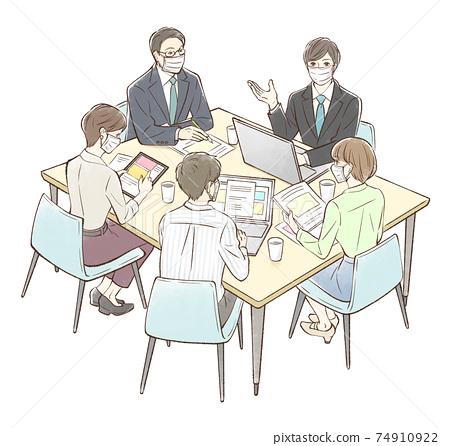 Group meetings centered on men_with masks 74910922