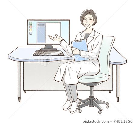 醫生坐在電腦前,伸出手 74911256