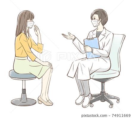 諮詢醫生和女病人,戴著面具,沒有背景 74911669