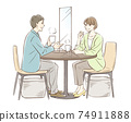 Pair of men and women to have tea _ with partition 74911888