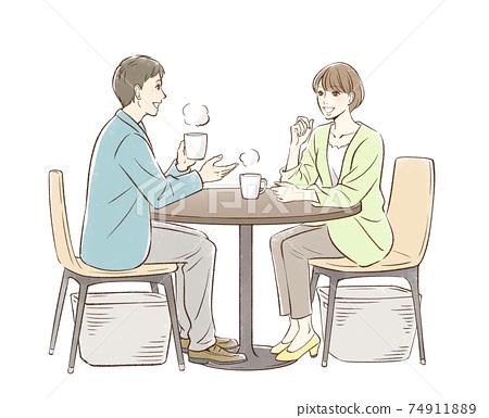 一對男女要喝茶 74911889