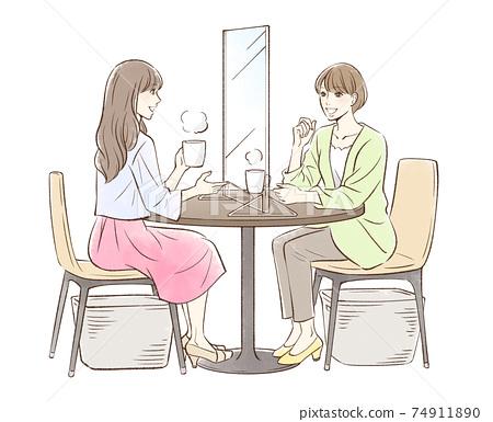 一對婦女喝茶_帶隔斷 74911890
