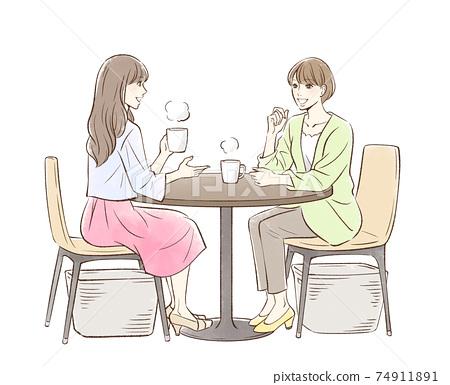 一對婦女喝茶 74911891
