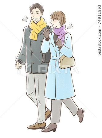 情侶約會在冬天的衣服 74911893