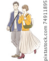 Couple dating in autumn clothes 74911895