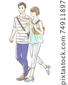 Couple dating in summer clothes 74911897