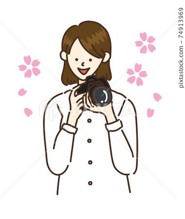 카메라 여자 여성 일러스트 벚꽃 봄 74913969
