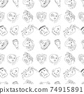 Seamless pattern with crazy people faces made in line art vector style 74915891