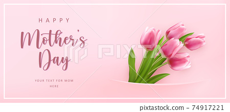 Happy mother's day cute lovely elegant pink tulip flower banner template 74917221