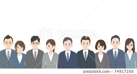 營業所工作者同事同事男女上半身插圖素材 74917288
