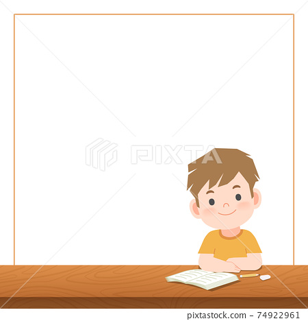 blank banner text box and a boy study on the desk , illustration vector on white background. Education Concept. 74922961