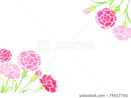 用水彩繪製的母親節康乃馨的背景插圖 74927768