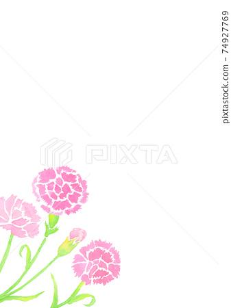 用水彩繪製的母親節康乃馨的背景插圖 74927769