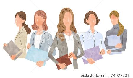 矢量圖素材:年輕的商界女性,商業場景 74928281
