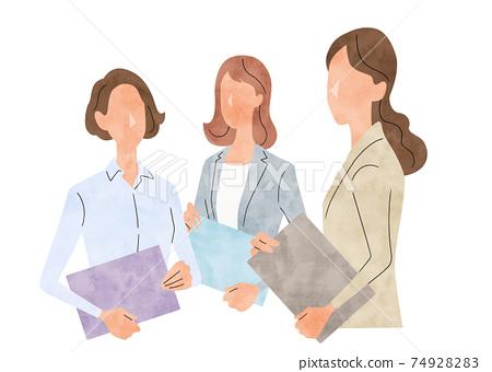矢量圖素材:年輕的商界女性,商業場景 74928283