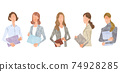 Vector Illustration Material: Young Business Women, Business Scene 74928285