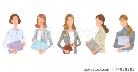 矢量圖素材:年輕的商界女性,商業場景 74928285