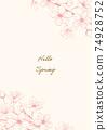 벚꽃 핑크 계열 일러스트 프레임 02 74928752